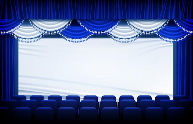Abstrakter hintergrund der blauen theatervorhänge und der bühnenvorhänge und -sitze