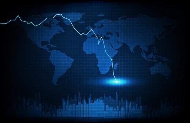 Abstrakter hintergrund der blauen weltkarten der futuristischen technologie und wirtschaftskrise unten börsengraph
