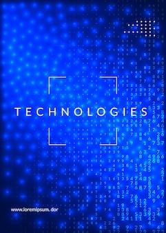 Abstrakter hintergrund der digitaltechnik. künstliche intelligenz, deep learning und big data-konzept. tech-visual für drahtlose vorlage. industrielle digitale technologie abstrakt.