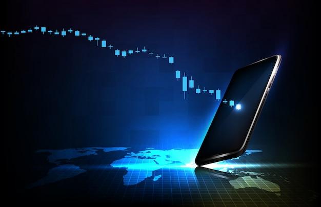 Abstrakter hintergrund der futuristischen technoalogie-wirtschaftskrise unten börsengraph mit smartphone
