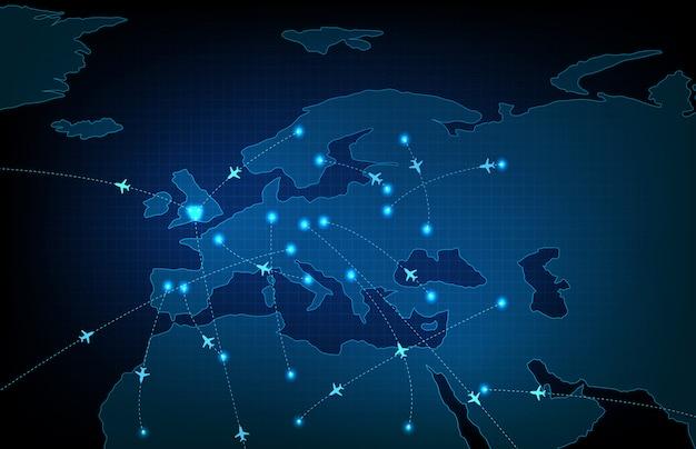 Abstrakter hintergrund der futuristischen technologie-bildschirmabtastflugradarflugzeugroutenpfad von europa-reisekarten