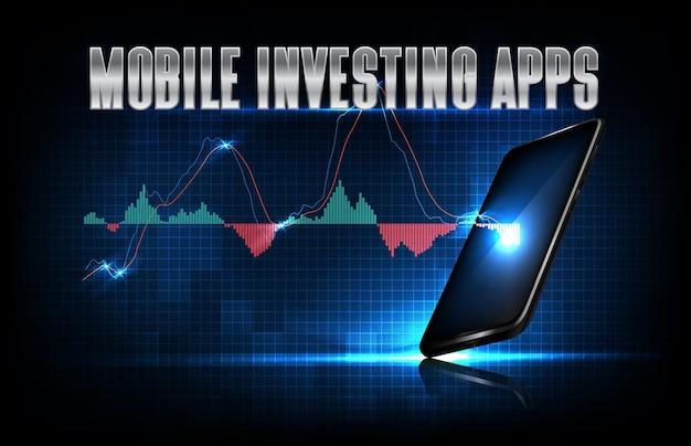 Abstrakter hintergrund der futuristischen technologie mobile investierende apps auf smartphone mit macd-grafikindikator