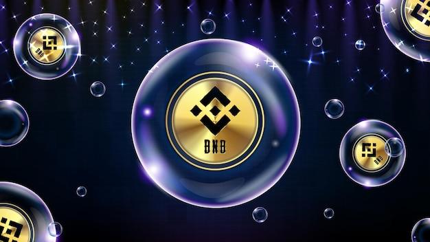 Abstrakter hintergrund der futuristischen technologieblase, die cryptocurrency bnb binance leuchtet