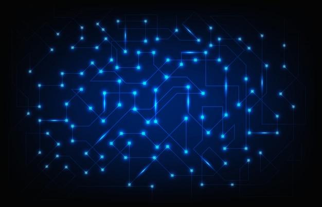 Abstrakter hintergrund der glühenden elektronischen schaltung mit knoten