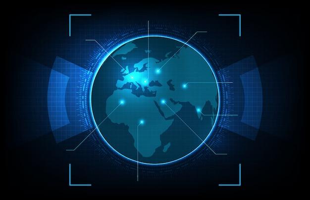 Abstrakter hintergrund der leuchtenden digitalen globus-weltkarten der futuristischen technologie mit hightech-bildschirmkonzept