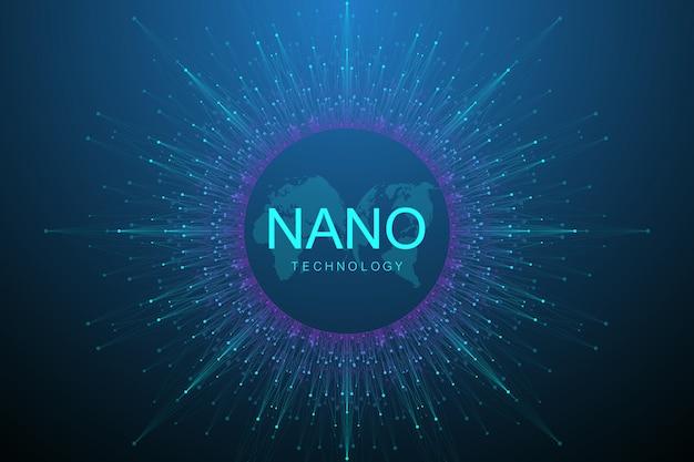 Abstrakter hintergrund der nanotechnologien. cyber-technologie-konzept. künstliche intelligenz, virtuelle realität, bionik, robotik, globales netzwerk, mikroprozessor, nanoroboter.