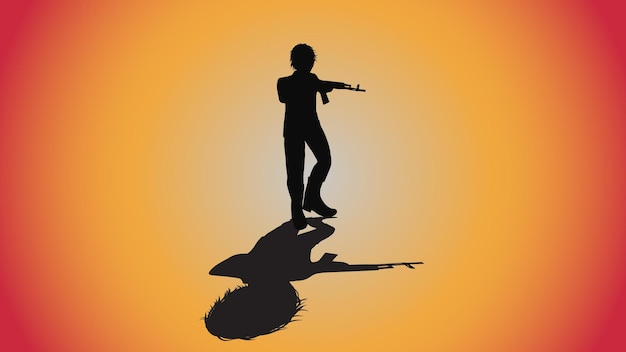 Abstrakter hintergrund der silhouette mann mit ak 47 pistole