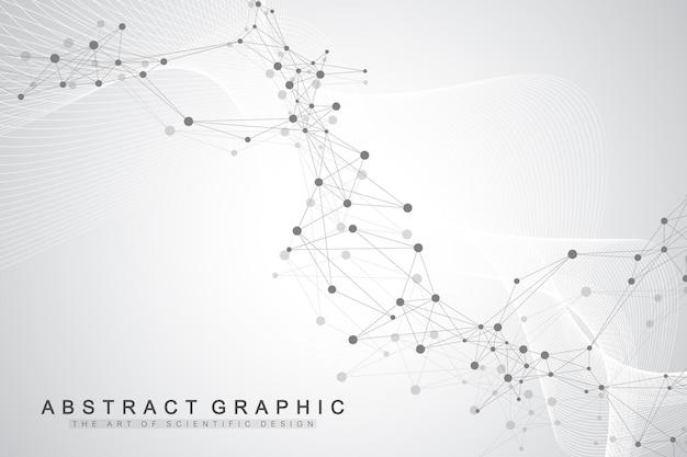 Abstrakter hintergrund der technologie mit verbundener linie und punkten. big-data-visualisierung. perspektivische hintergrundvisualisierung. analytische netzwerke. vektor-illustration.