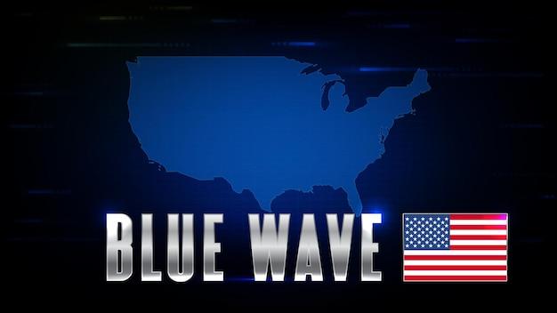 Abstrakter hintergrund der weltkarten der futuristischen technologie-usa-flagge und des us-wahl-blue-wave-aktienmarktes