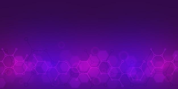 Abstrakter hintergrund der wissenschafts- und innovationstechnologie. technischer hintergrund mit molekularen strukturen und chemieingenieurwesen.