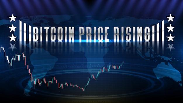 Abstrakter hintergrund des bitcoin-us-dollar-btc-handelskryptowährungsmarktes, bitcoin-preis steigt