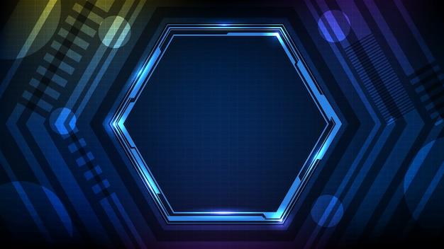 Abstrakter hintergrund des blau leuchtenden sechseckstern-technologie-science-fiction-rahmens hud ui
