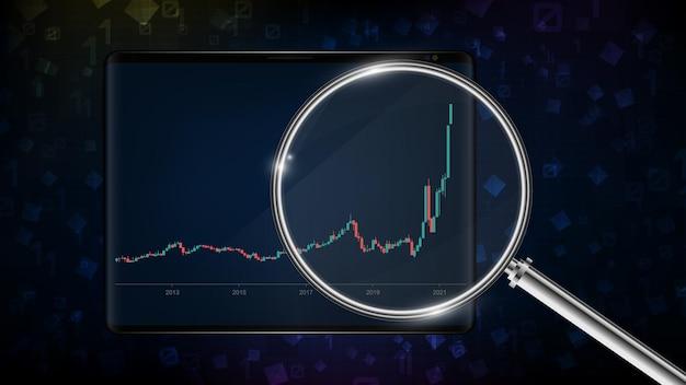 Abstrakter hintergrund des blauen börsendiagramm-kerzenleuchter grün rot mit lupe auf smart-tablet