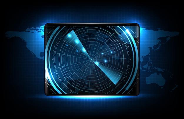 Abstrakter hintergrund des blauen futuristischen technologie-scan-schnittstellen-hud auf smart-tablet mit karten des vereinigten staaten von amerika (usa)