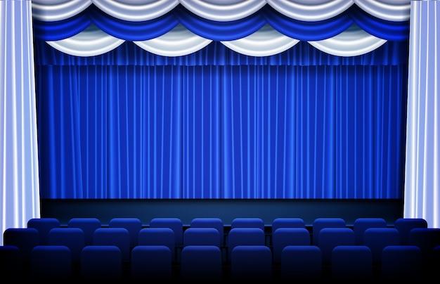 Abstrakter hintergrund des blauen theaters drapiert und stadiumstrennvorhänge und -sitze