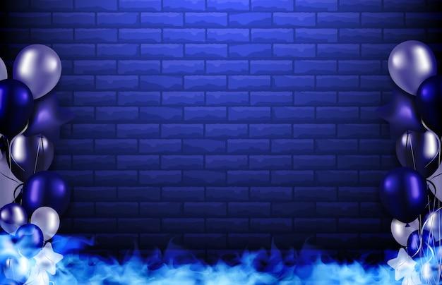 Abstrakter hintergrund des blauen ziegelsteines, des rauches und der ballone, parteikonzept
