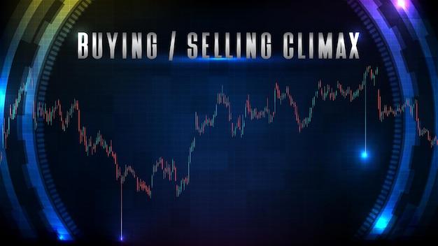 Abstrakter hintergrund des börsenkaufs und -verkaufs höhepunkt und diagramm der technischen analyse