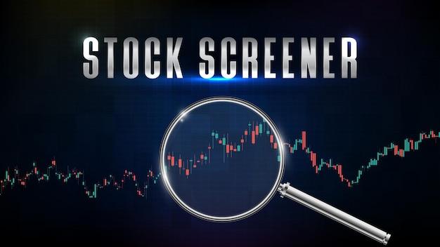 Abstrakter hintergrund des börsenscreeners mit lupe und technischem analysediagramm des indikators