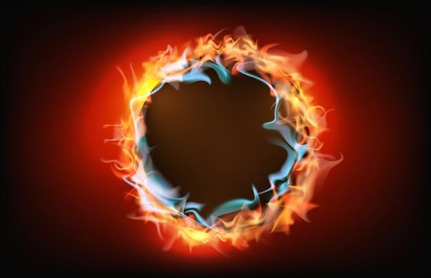 Abstrakter hintergrund des brennenden lochrahmens des flammenfeuers