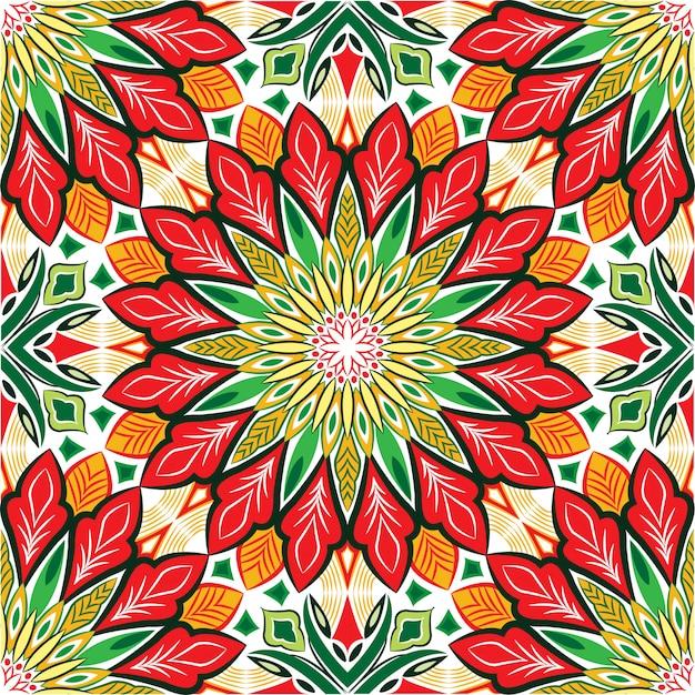 Abstrakter hintergrund des dekorativen mandala-entwurfs. nahtloses muster mit blumen