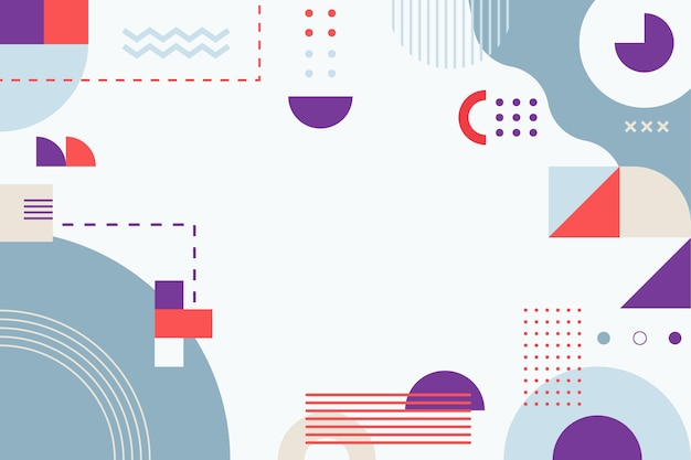 Abstrakter hintergrund des flachen designs mit bunten formen