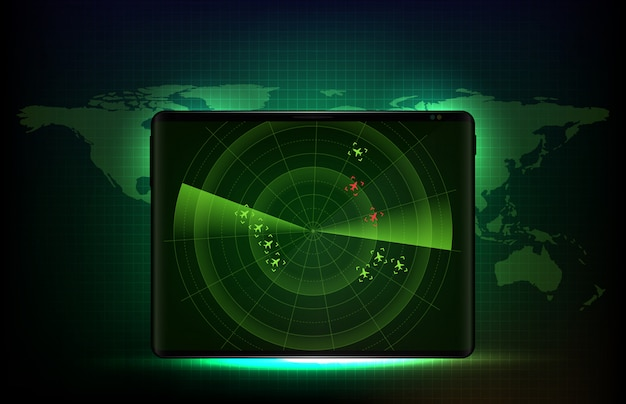 Abstrakter hintergrund des futuristischen technologie-scan-schnittstellen-hud auf smart tablet mit bildschirm-scan-flugradar-flugzeugroutenpfad und eindringling des roten flugzeugs