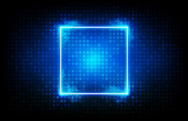 Abstrakter hintergrund des glühenden blauen quadratischen neonrahmens