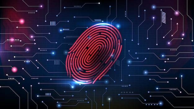 Abstrakter hintergrund des intelligenten mobiltelefons der futuristischen technologie mit fingerabdruck-scanning-identitätsprüfung