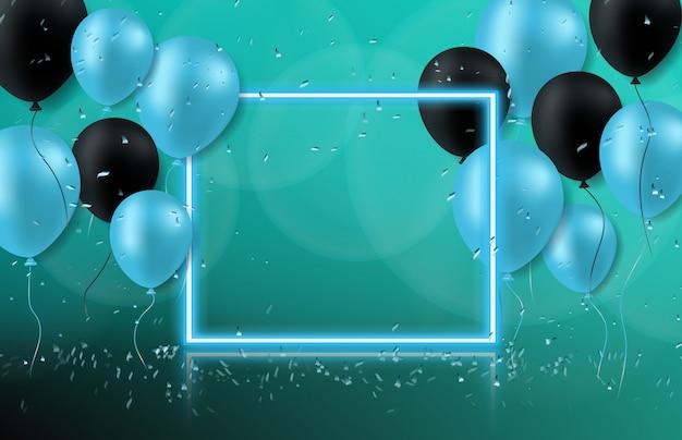 Abstrakter hintergrund des neonrahmens mit ballon, nachtpartei
