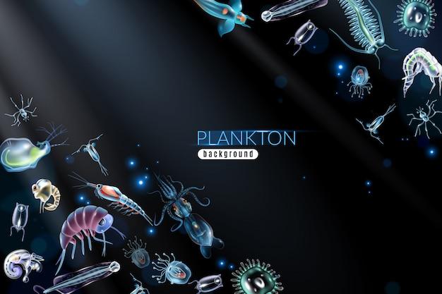 Abstrakter hintergrund des planktons mit unterschiedlichem kleinem marineorganismus phytoplankton und zooplanktonkarikaturillustration