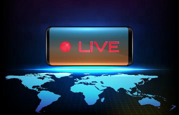 Abstrakter hintergrund des roten neon-live-stream-zeichens der futuristischen technologie auf dem intelligenten mobiltelefon mit weltkarten