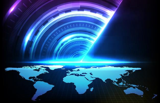 Abstrakter hintergrund des runden futuristischen technologie-benutzeroberflächenbildschirm-hud