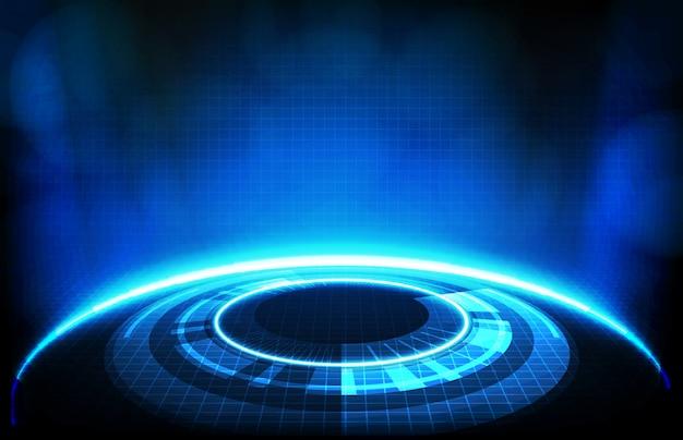 Abstrakter hintergrund des runden futuristischen technologiebenutzeroberflächen-bildschirmhuds