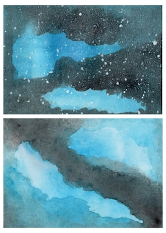 Abstrakter hintergrund des schwarzen und blauen aquarells