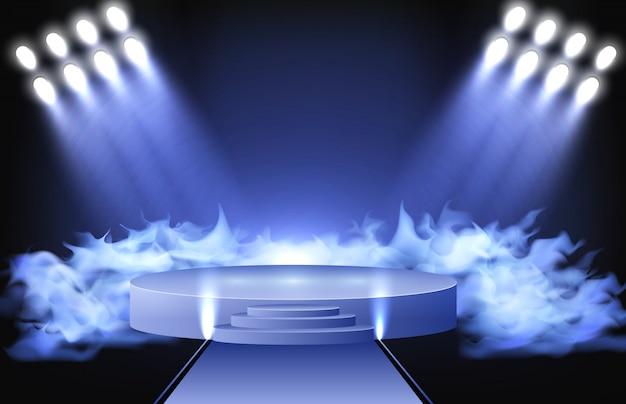 Abstrakter hintergrund des stadiums beleuchtet das glänzen und den rauch am studio