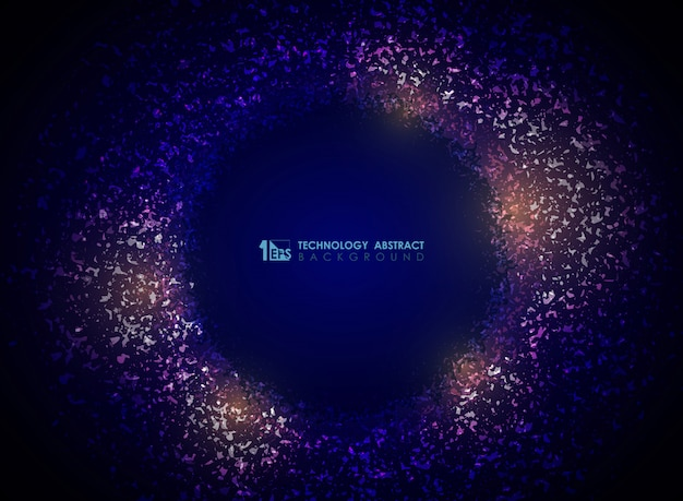 Abstrakter hintergrund des technologiepartikelkreises der purpurroten farbe der steigung