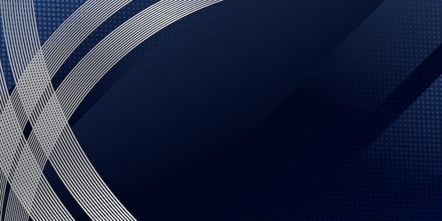 Abstrakter hintergrund dunkelblau mit modernen silbernen wellenlinienstreifen und halbtondekoration