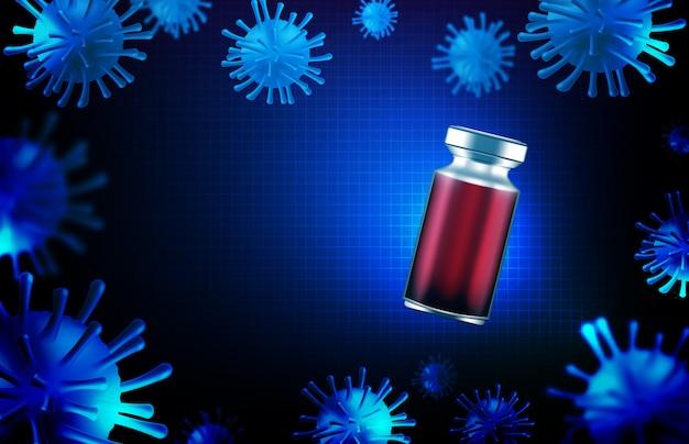 Abstrakter hintergrund futuristische technologie der coronavirus covic-19 injektionsimpfstoffflasche