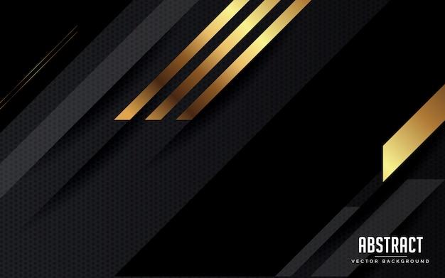 Abstrakter hintergrund geometrisches schwarzes und grau und goldfarbe modern