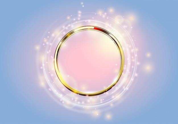 Abstrakter hintergrund. goldener ring mit hellen kreisen und funken mit lichteffekt.