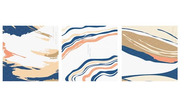 Abstrakter hintergrund im orientalischen stil. geometrische linie mit japanischem muster. wellenförmiges formelement. marmor-layout-design.