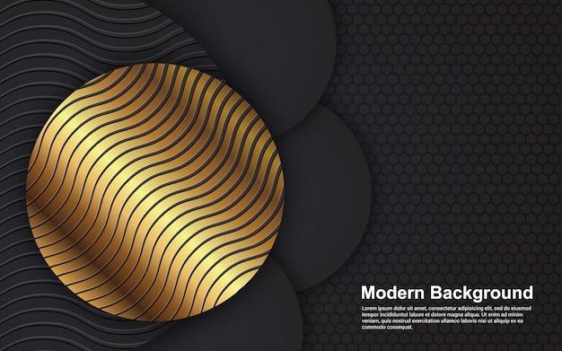 Abstrakter hintergrund luxus schwarz und goldene farbe modern