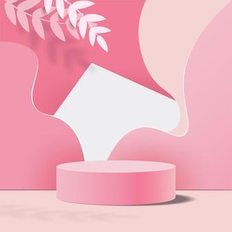 Abstrakter hintergrund, minimale szene für produktanzeige mit pastellrosa podium und blätter.