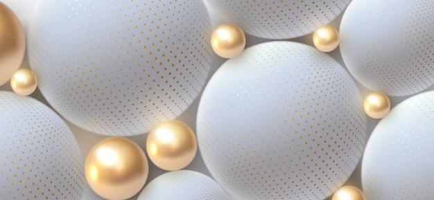 Abstrakter hintergrund mit 3d-kugeln. goldene und weiße blasen. illustration von bällen mit halbtonmuster strukturiert. schmuckabdeckungskonzept. horizontales banner.