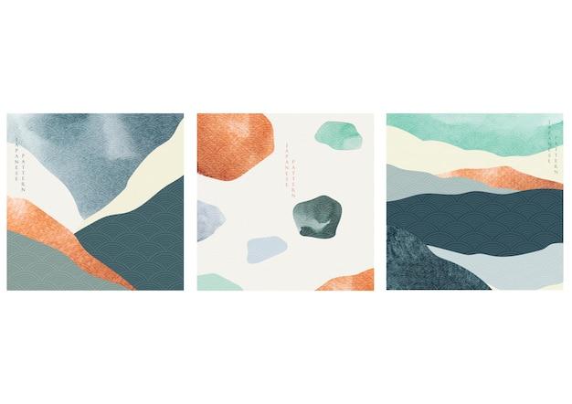 Abstrakter hintergrund mit aquarellbeschaffenheitsvektor. bergwaldschablone mit natürlichen elementen.