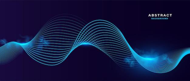 Abstrakter hintergrund mit blau leuchtendem partikel