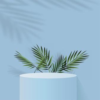 Abstrakter hintergrund mit blauem geometrischem 3d-podium color