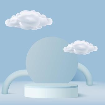 Abstrakter hintergrund mit blauen geometrischen 3d-podien und wolken. vektor-illustration