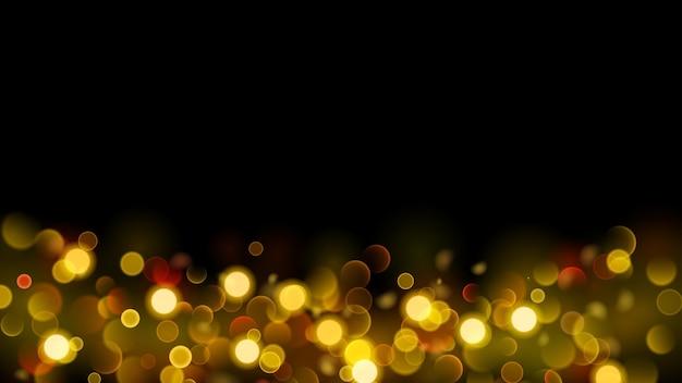 Abstrakter hintergrund mit bokeh-effekt. unscharfe defokussierte lichter in goldfarben. goldbokeh-lichter auf schwarzem hintergrund.