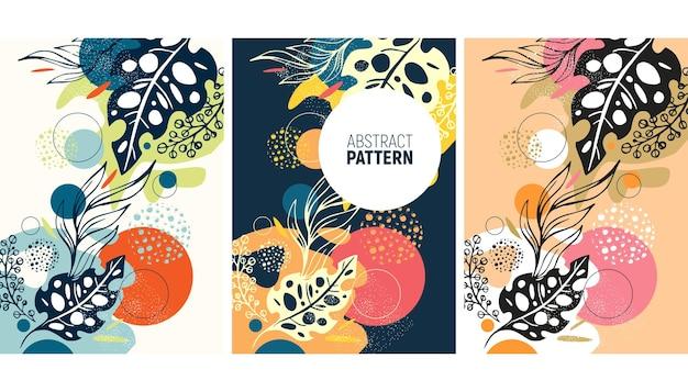 Abstrakter hintergrund mit botanischen und handzeichnungselementen für postkartenbannerabdeckung